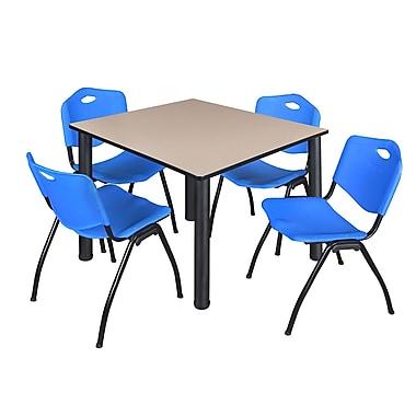 Regency – Table de salle de pause Kee de 48 po, beige et noir, avec 4 chaises empil. M, bleu (TB4848BEPBK47BE)