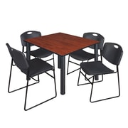 """Regency Kee 48"""" Square Breakroom Table- Cherry/ Black and 4 Zeng Stack Chairs- Black (TB4848CHPBK44BK)"""
