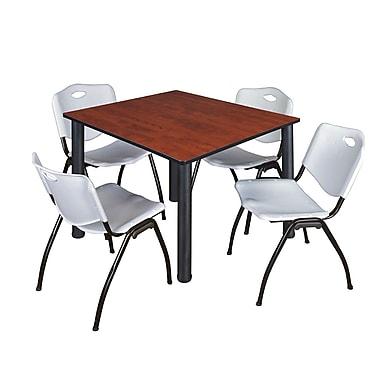 Regency – Table de salle de pause carrée Kee de 48 po, cerisier/noir, avec 4 chaises empilables M, gris (TB4848CHPBK47GY)
