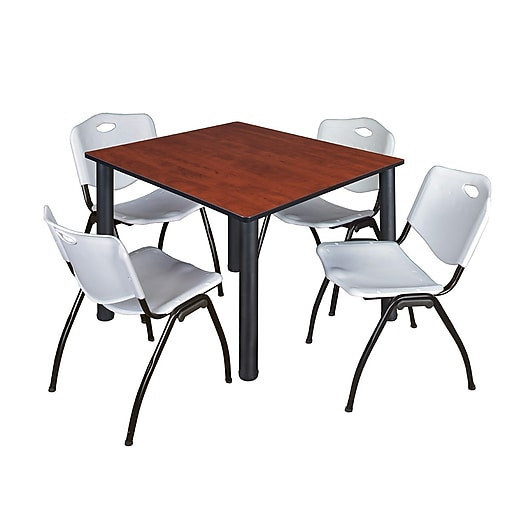 regency kee 48 square breakroom table cherry black and 4 39 m 39 stack chairs grey. Black Bedroom Furniture Sets. Home Design Ideas