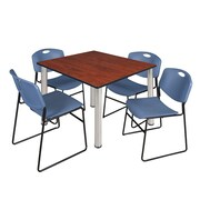 "Regency Kee 48"" Square Breakroom Table- Cherry/ Chrome and 4 Zeng Stack Chairs- Blue (TB4848CHPCM44BE)"