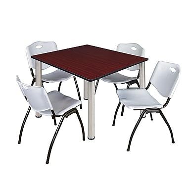 Regency – Table carrée Kee de 48 po pour salle de pause, acajou/chrome et 4 chaises empilables, gris (TB4848MHPCM47GY)