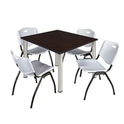 "Regency Kee 48"" Square Breakroom Table- Mocha Walnut/ Chrome and 4 'M' Stack Chairs- Grey (TB4848MWPCM47GY)"