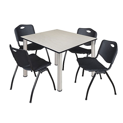 "Regency Kee 48"" Square Breakroom Table- Maple/ Chrome and 4 'M' Stack Chairs- Black (TB4848PLPCM47BK)"