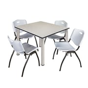 "Regency Kee 48"" Square Breakroom Table- Maple/ Chrome and 4 'M' Stack Chairs- Grey (TB4848PLPCM47GY)"