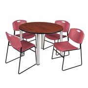 """Regency Kee 48"""" Round Breakroom Table- Cherry/ Chrome and 4 Zeng Stack Chairs- Burgundy (TB48RDCHPCM44BY)"""
