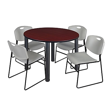 Regency – Table de salle de pause ronde Kee de 48 po, acajou et noir, avec 4 chaises empilables Zeng, gris (TB48RDMHPBK44GY)