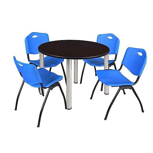 "Regency Kee 48"" Round Breakroom Table- Mocha Walnut/ Chrome and 4 'M' Stack Chairs- Blue (TB48RDMWPCM47BE)"