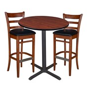 "Regency 36"" Round Cafe Table- Cherry & 2 Zoe Cafe Stools- Cherry/Black (TCB36RDCH95)"