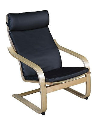 Niche Mia Bentwood Reclining Chair- Natural/ Black Leather (N2020LNTBK)