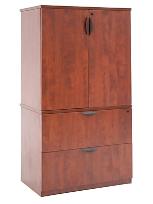 Regency Legacy Lateral File With Stackable Storage Cabinet Cherry