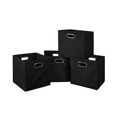 Niche – Bac de rangement repliable Cubo en tissu, 4/paquet, noir (HTOTE4PKBK)