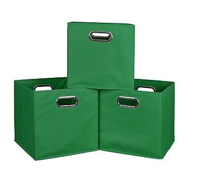 Niche Cubo Set of 3 Foldable Fabric Storage Bins- Green (HTOTE3PKGN)