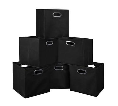 Niche Cubo Set of 6 Foldable Fabric Storage Bins- Black (HTOTE6PKBK)
