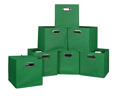 Niche Cubo Set of 12 Foldable Fabric Storage Bins- Green (HTOTE12PKGN)