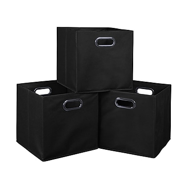 Niche Cubo Foldable Fabric Storage Bins, 3/Pack, Black (HTOTE3PKBK)