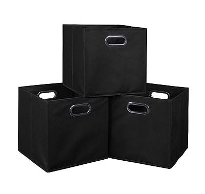 Niche Cubo Set of 3 Foldable Fabric Storage Bins- Black (HTOTE3PKBK)