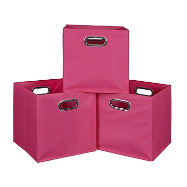 Niche Cubo Foldable Fabric Storage Bins, 3/Pack, Pink (HTOTE3PKPK)