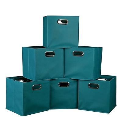 Niche Cubo Set of 6 Foldable Fabric Storage Bins,Teal