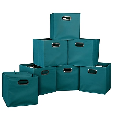 Niche Cubo Set of 12 Foldable Fabric Storage Bins, Teal, 12