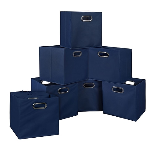 Niche Cubo Set of 12 Foldable Fabric Storage Bins- Blue (HTOTE12PKBE)