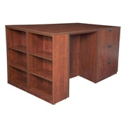 Regency Legacy Stand Up Lateral File/ 3 Desk Quad with Bookcase End- Cherry (LSLF3SD8546CH)