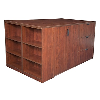 Regency Legacy Stand Up 2 Storage Cabinet/Lateral File/Desk Quad with Bookcase End, Cherry (LS2SCLFSD8546CH)