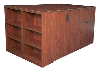 Regency Legacy Stand Up 2 Storage Cabinet/ Lateral File/ Desk Quad with Bookcase End- Cherry (LS2SCLFSD8546CH)