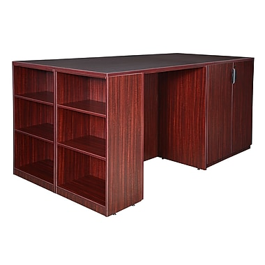 Regency Legacy Stand Up 2 Desk/Storage Cabinet/Lateral File Quad with Bookcase End, Mahogany (LS2SDSCLF8546MH)