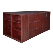 Regency Legacy Stand Up 2 Storage Cabinet/ Lateral File/ Desk Quad with Bookcase End- Mahogany (LS2SCLFSD8546MH)