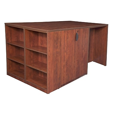 Regency Legacy Stand Up Storage Cabinet/3 Desk Quad with Bookcase End