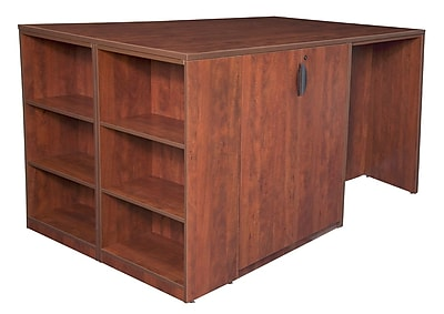 Regency Legacy Stand Up 2 Storage Cabinet/ 2 Desk Quad with Bookcase End- Cherry (LS2SC2SD8546CH)