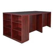 Regency Legacy Stand Up Desk Quad with Bookcase End- Mahogany (LSSDQUAD8546MH)