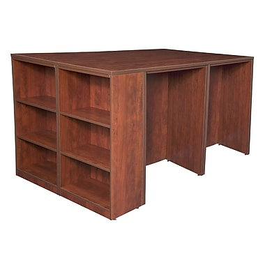 Regency Legacy Stand Up Desk Quad with Bookcase End, Cherry (LSSDQUAD8546CH)