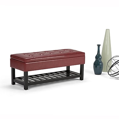 Cosmopolitan Faux Leather Storage Ottoman Bench in Radicchio Red