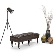 """Henley Bonded Leather 50"""" Tufted Ottoman Bench, in Distressed Brown (3AXCOT-241-NL)"""