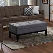 Castlerock Linen Look Fabric Storage Ottoman in Slate Grey (3AXCOT-244-BR)