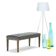 Waverly Tufted Ottoman Bench in Faux Leather in Slate Grey