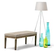 Waverly Tufted Ottoman Bench in Linen Look Fabric in Natural (3AXCOT-244-NL)