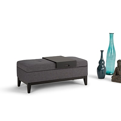 Oregon Linen Look Storage Ottoman with Tray in Slate Grey (3AXCOT-245-GL)
