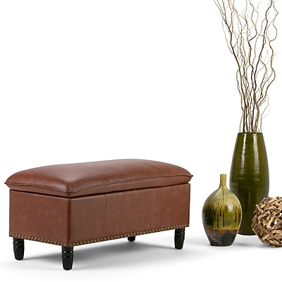 Emily Faux Leather Storage Ottoman in Cognac