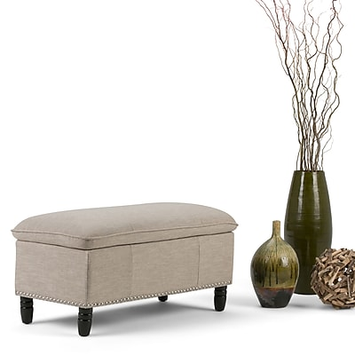 Emily Linen Look Storage Ottoman in Natural