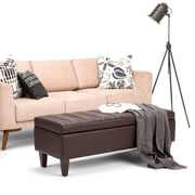 Monroe Storage Ottoman in Faux Leather in Chocolate Brown (3AXCOT-251-TBR)