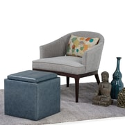 Rockwood Faux Leather Cube Storage Ottoman with Tray in Denim Blue (3AXCOT-254-DBU)