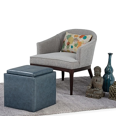 Rockwood Faux Leather Cube Storage Ottoman with Tray in Denim Blue