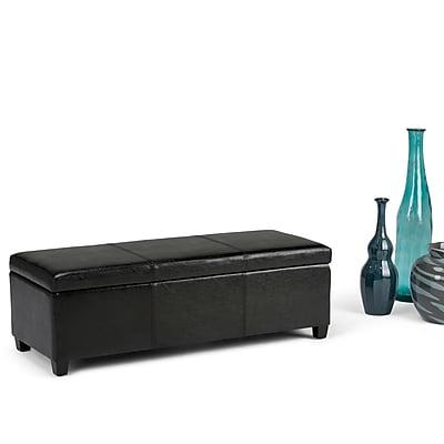 Avalon Faux Leather Storage Ottoman in Midnight Black