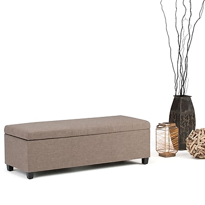 Avalon Linen Look Storage Ottoman in Fawn Brown (AXCF18-BRL)