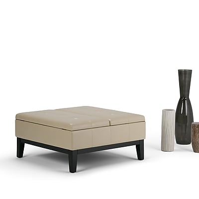 Dover Square Faux Leather Coffee Table Storage Ottoman in Satin Cream