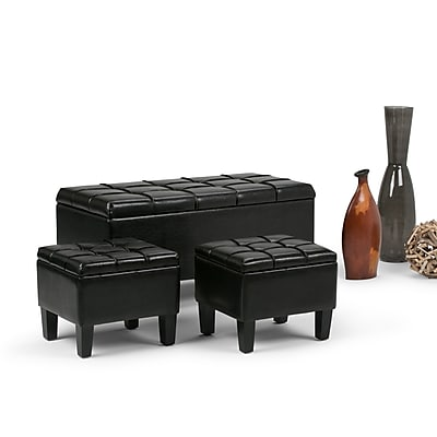 Dover 3 piece Faux Leather Storage Ottoman in Midnight Black