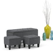 Dover 3 piece Linen Look Storage Ottoman in Slate Grey